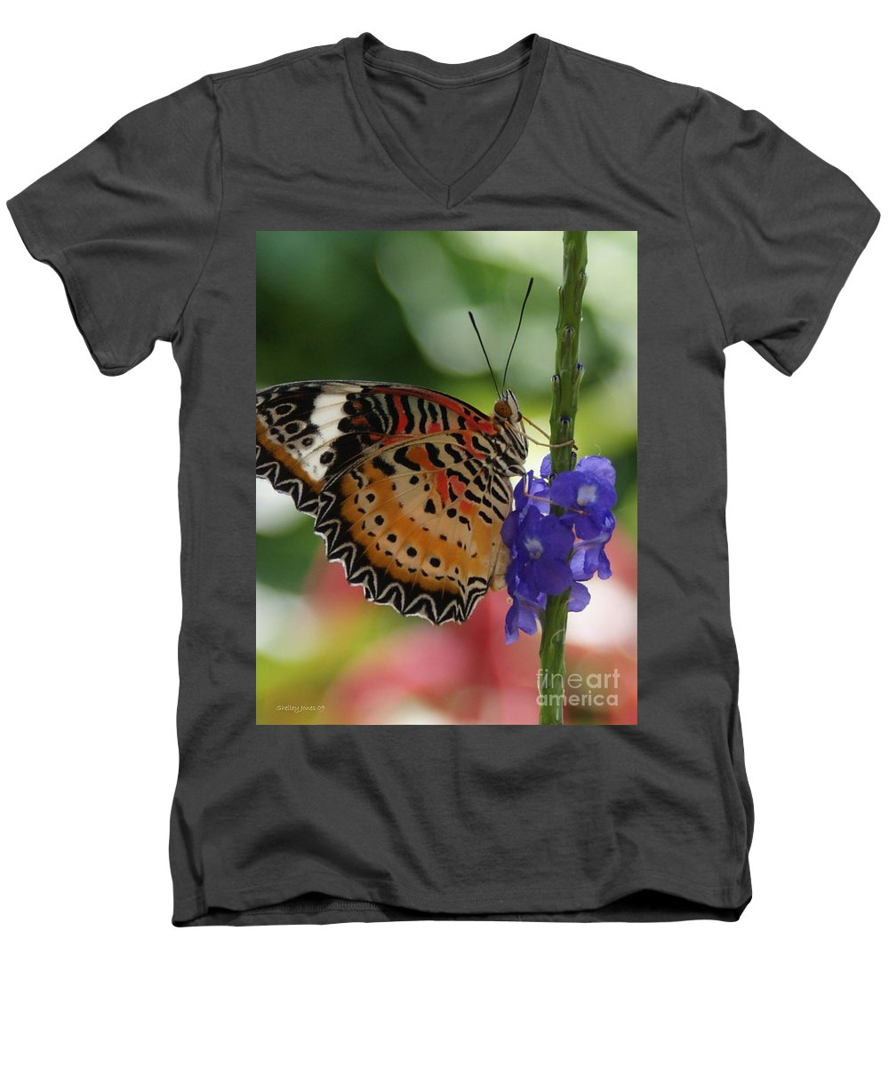 Butterfly Men's V-Neck T-Shirt featuring the photograph Hanging On by Shelley Jones