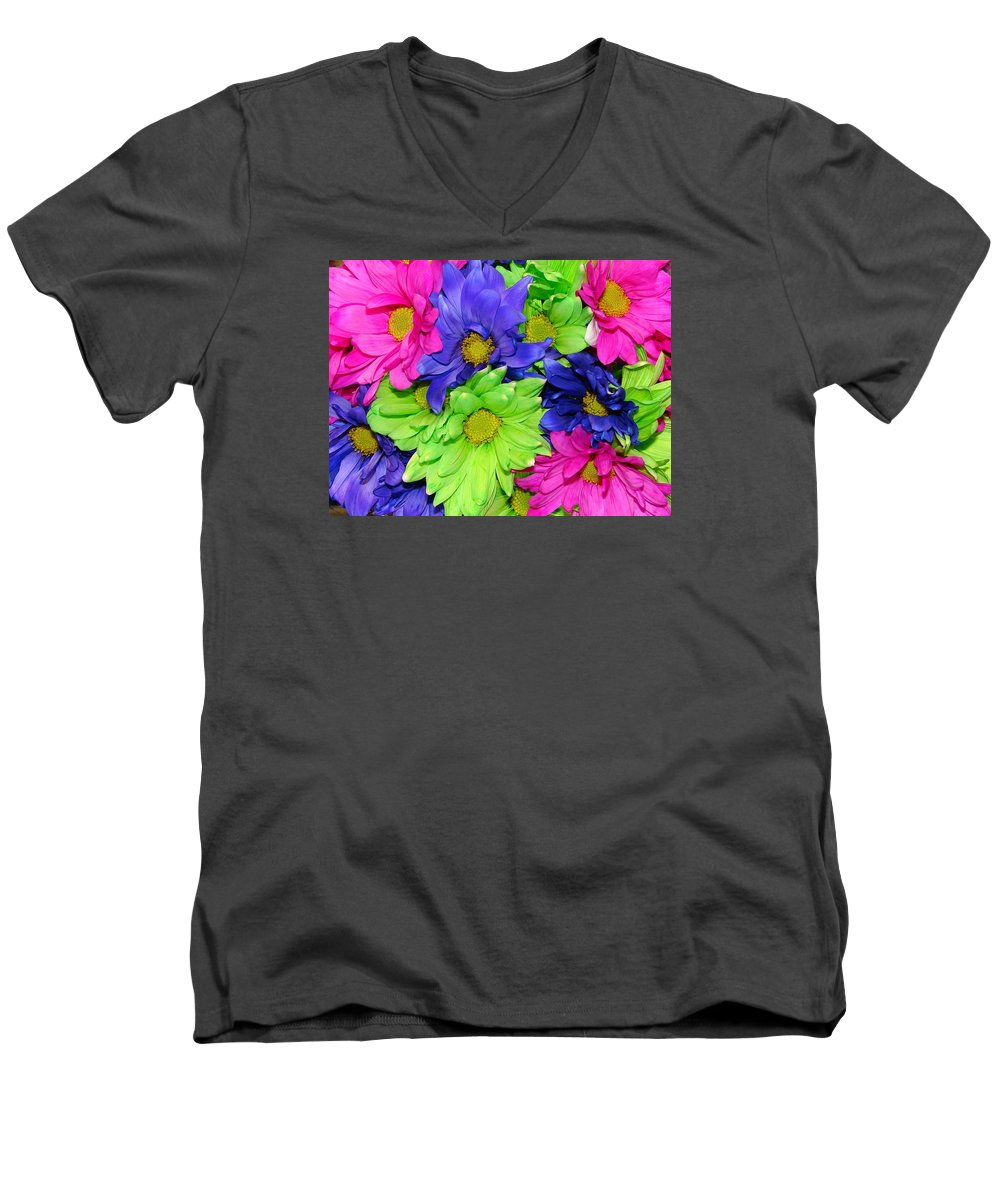 Flowers Men's V-Neck T-Shirt featuring the photograph Happiness by J R  Seymour