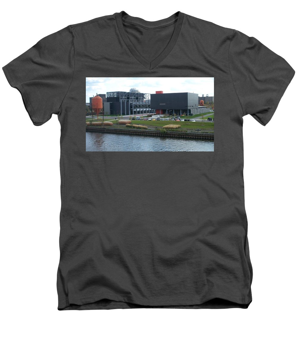 Architechture Men's V-Neck T-Shirt featuring the photograph Harley Museum Milwaukee by Anita Burgermeister