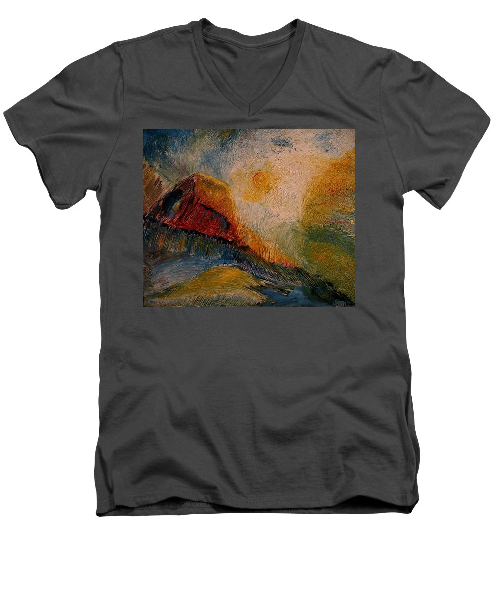 Rede Men's V-Neck T-Shirt featuring the painting Harvast by Jack Diamond