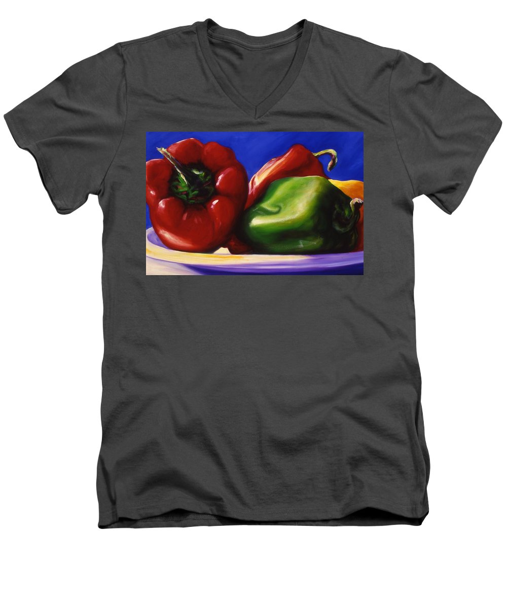 Still Life Men's V-Neck T-Shirt featuring the painting Harvest Festival Peppers by Shannon Grissom