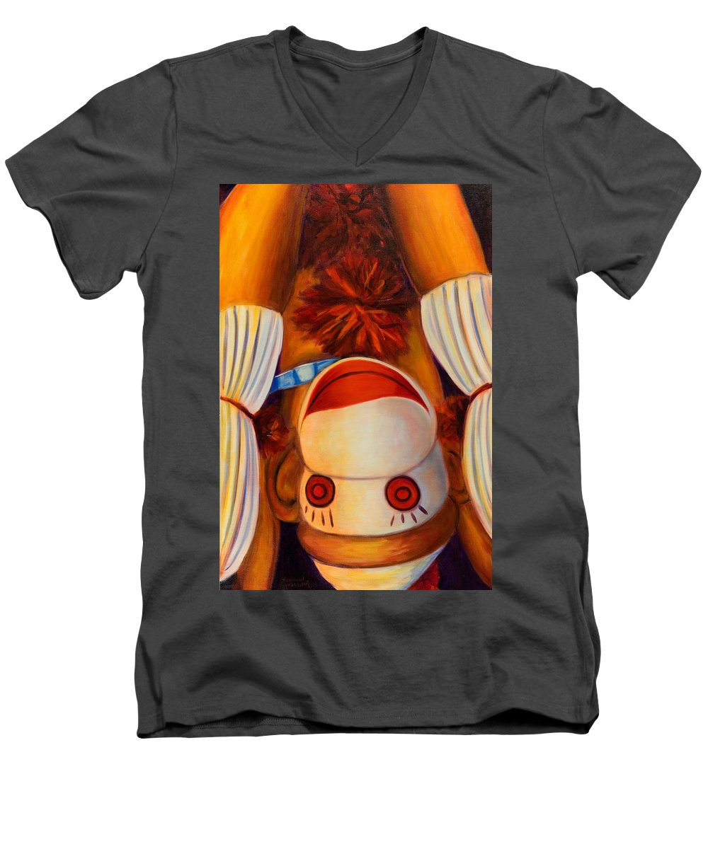 Children Men's V-Neck T-Shirt featuring the painting Head-over-heels by Shannon Grissom
