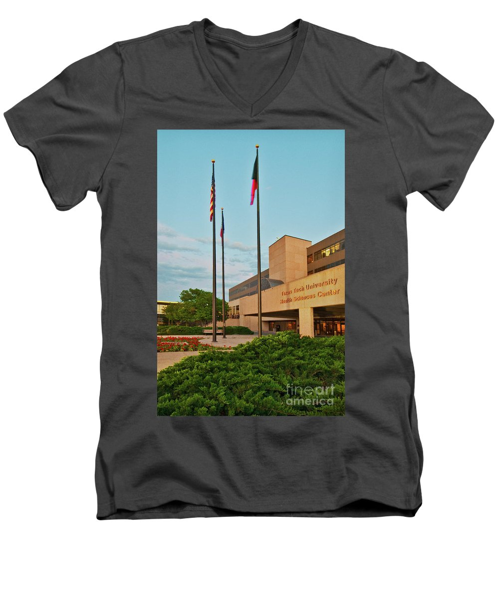 Health Sciences Medical Center Men's V-Neck T-Shirt featuring the photograph Health Sciences Medical Center by Mae Wertz
