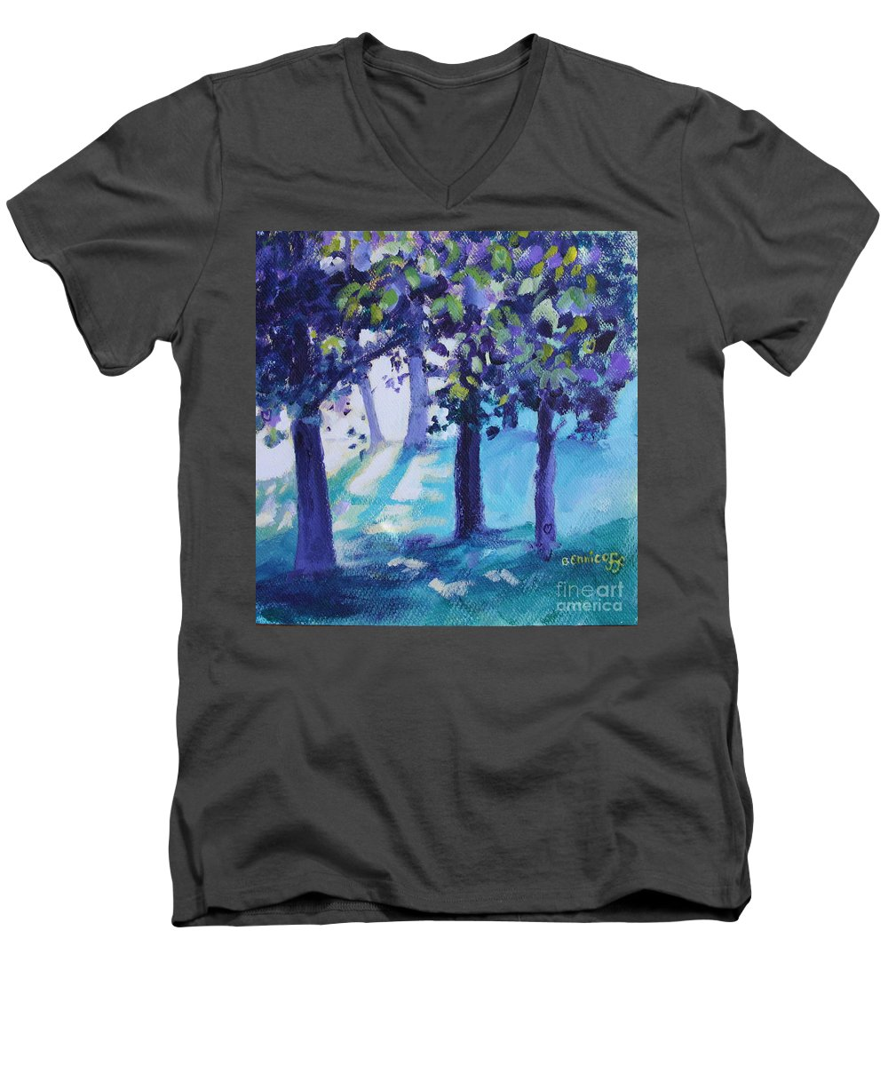 Expressionist Men's V-Neck T-Shirt featuring the painting Heart Of The Forest by Jan Bennicoff