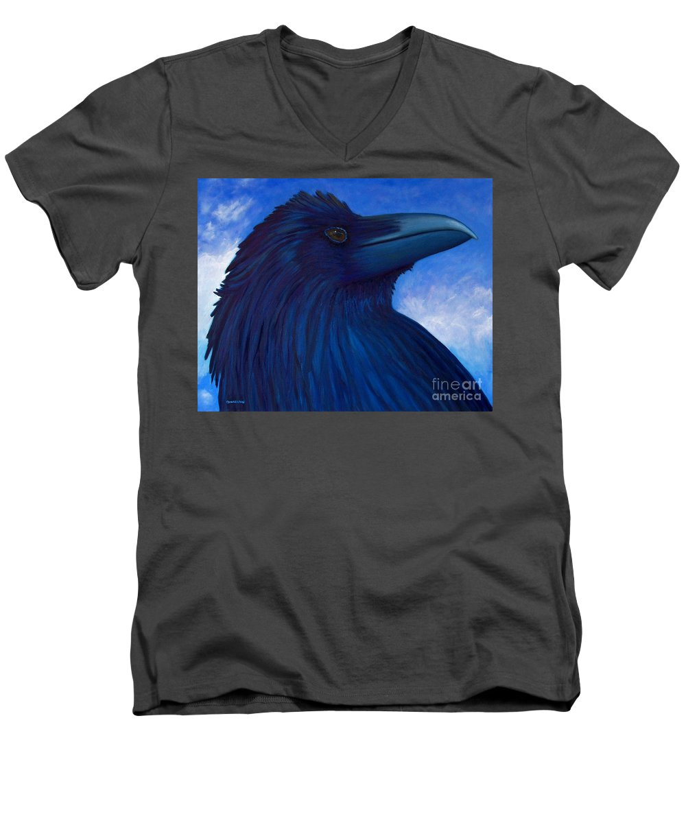 Raven Men's V-Neck T-Shirt featuring the painting Heaven Bound by Brian Commerford
