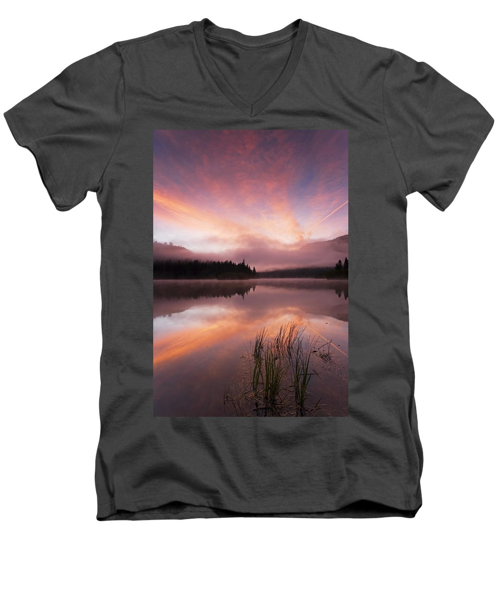 Sunrise Men's V-Neck T-Shirt featuring the photograph Heavenly Skies by Mike Dawson