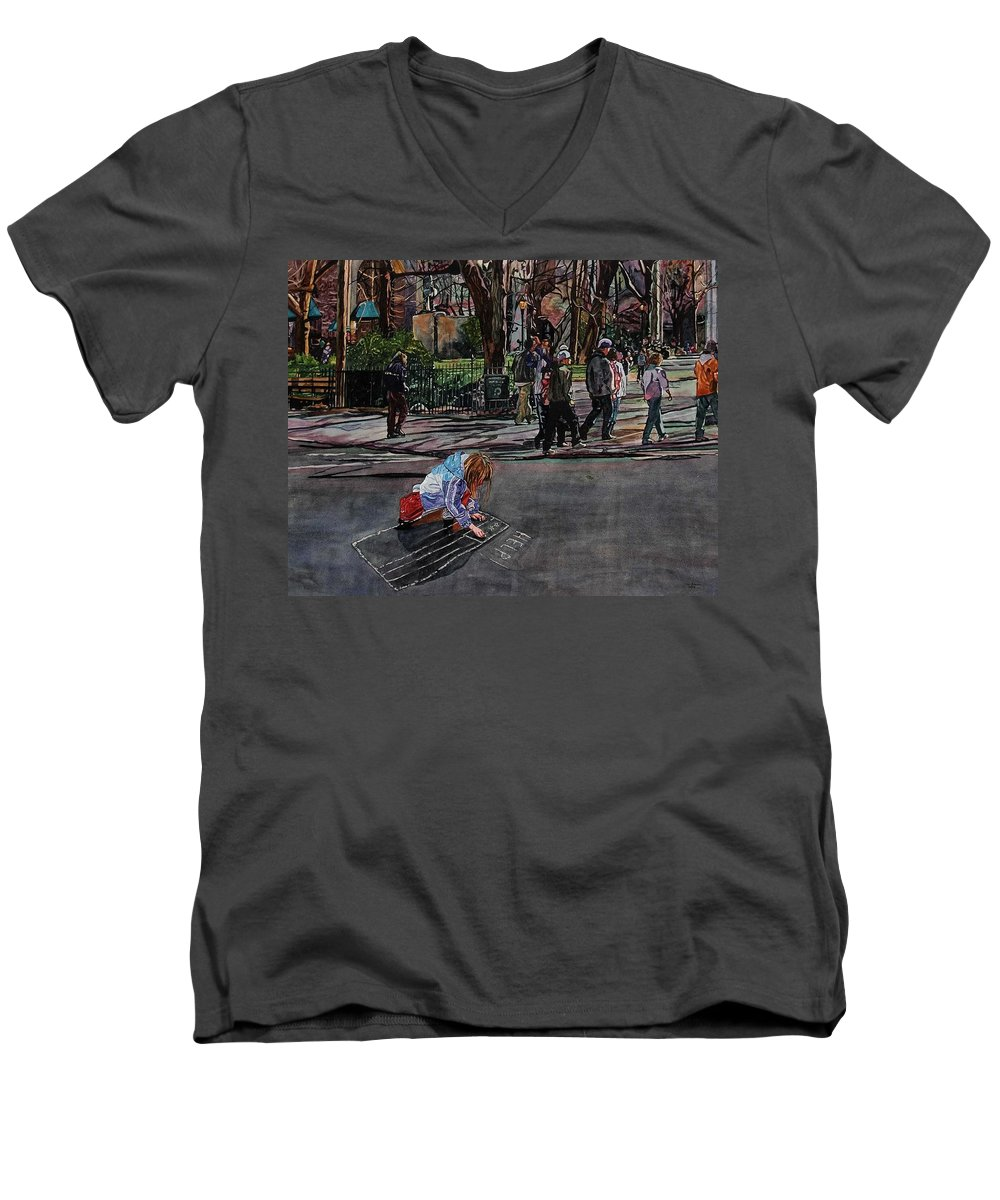 Political Men's V-Neck T-Shirt featuring the painting Help by Valerie Patterson