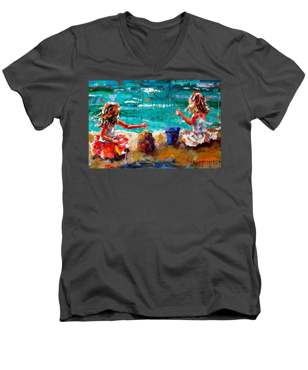 Seascape Men's V-Neck T-Shirt featuring the painting Her Blue Bucket by Debra Hurd