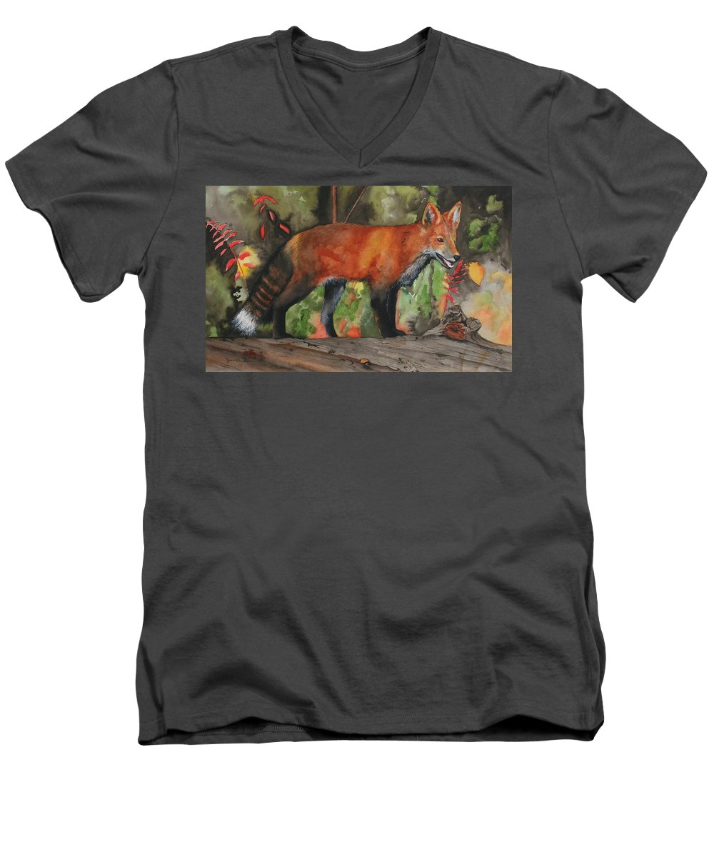 Fox Men's V-Neck T-Shirt featuring the painting Hiding In Plain Sight by Jean Blackmer