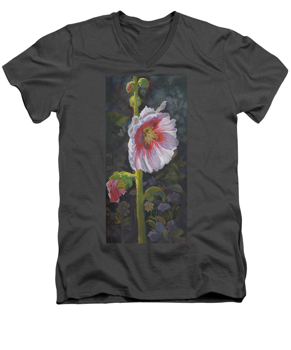 Flower Men's V-Neck T-Shirt featuring the painting Hollyhock by Heather Coen