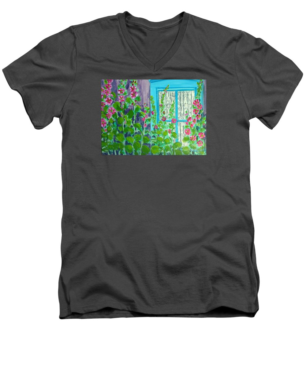 Hollyhocks Men's V-Neck T-Shirt featuring the painting Hollyhock Surprise by Laurie Morgan