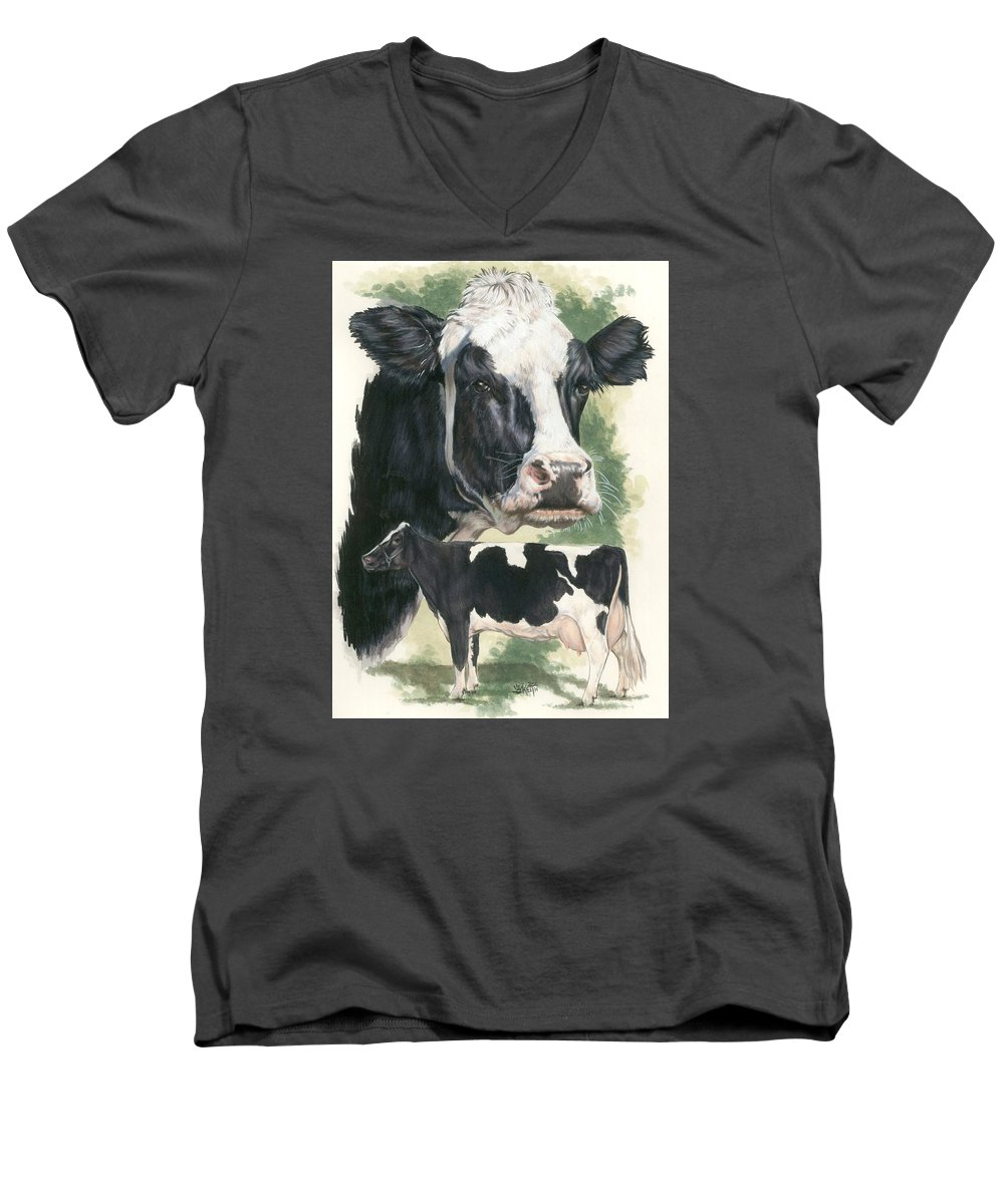 Cow Men's V-Neck T-Shirt featuring the mixed media Holstein by Barbara Keith