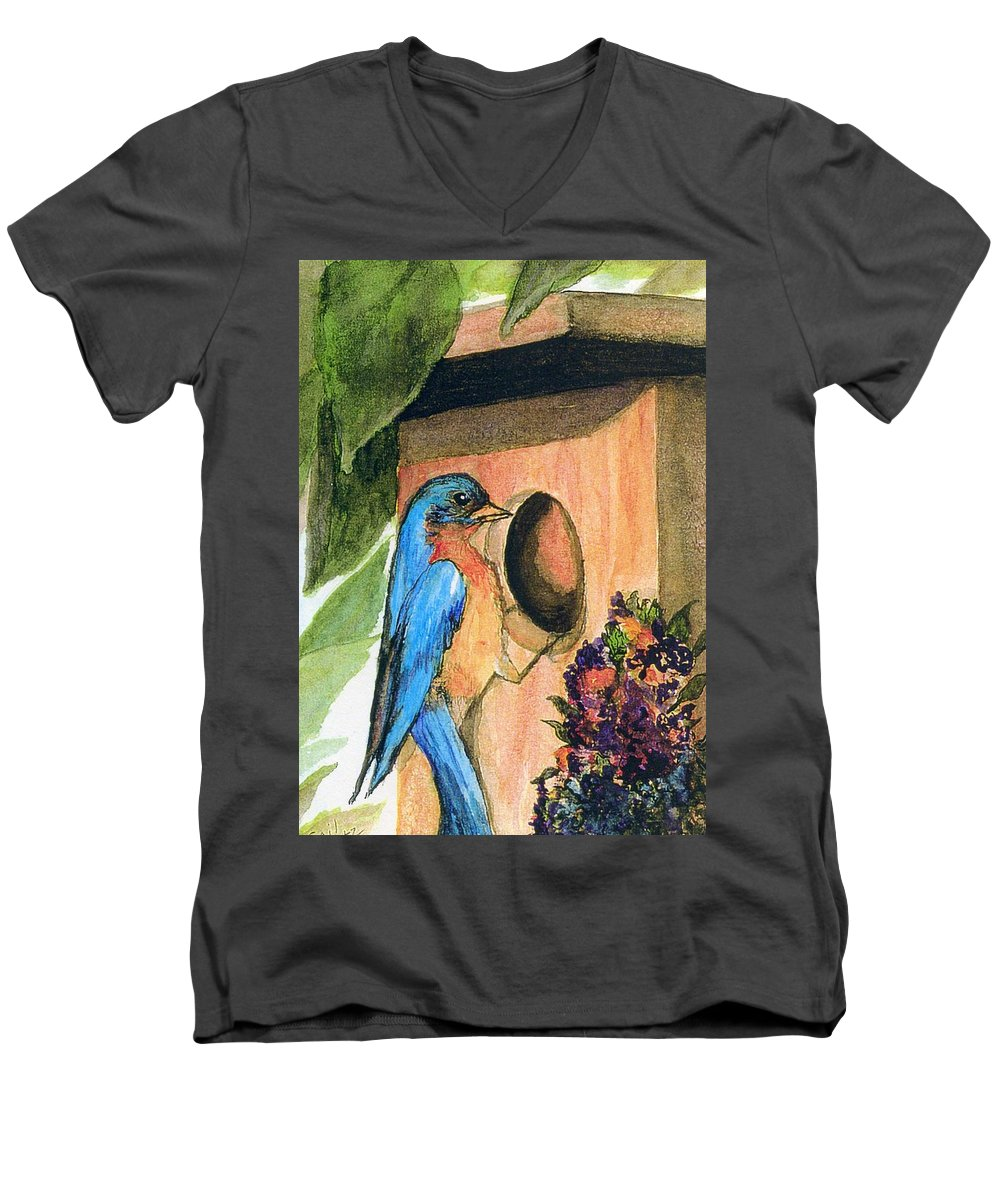 Bluebirds Men's V-Neck T-Shirt featuring the painting Home Sweet Home by Gail Kirtz