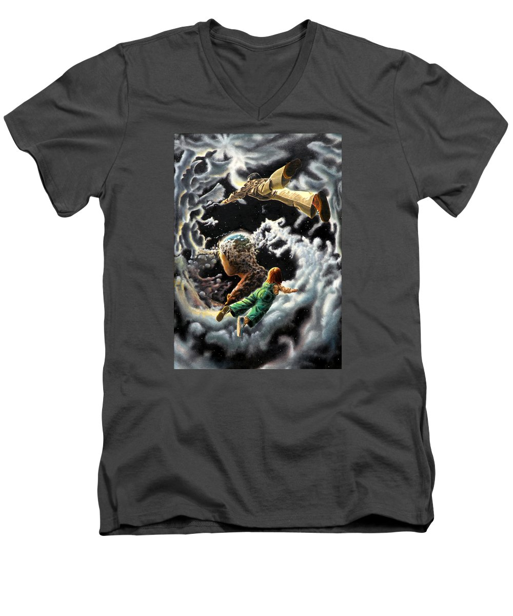 Fantasy Men's V-Neck T-Shirt featuring the painting Homecoming by Dave Martsolf