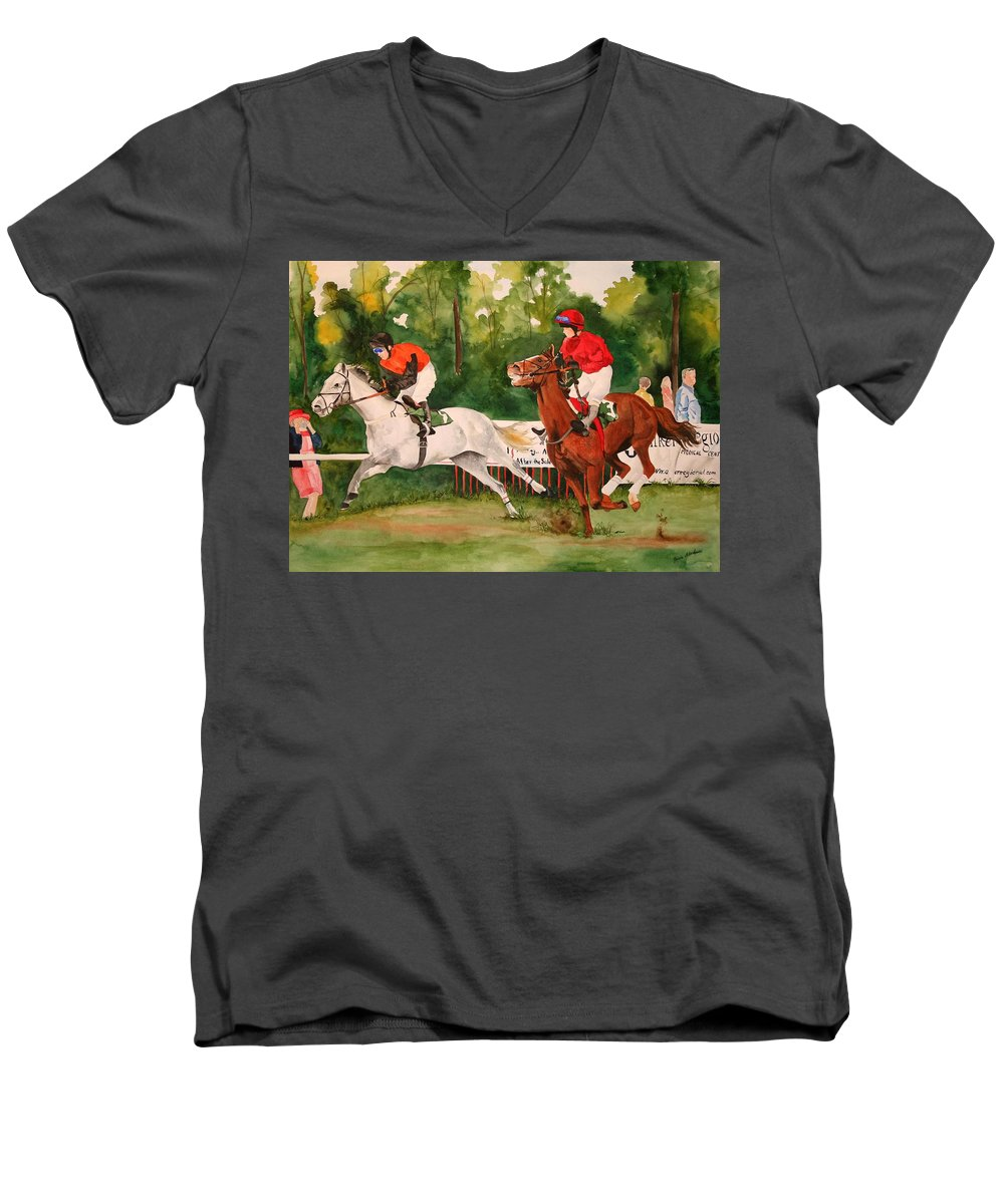 Racing Men's V-Neck T-Shirt featuring the painting Homestretch by Jean Blackmer