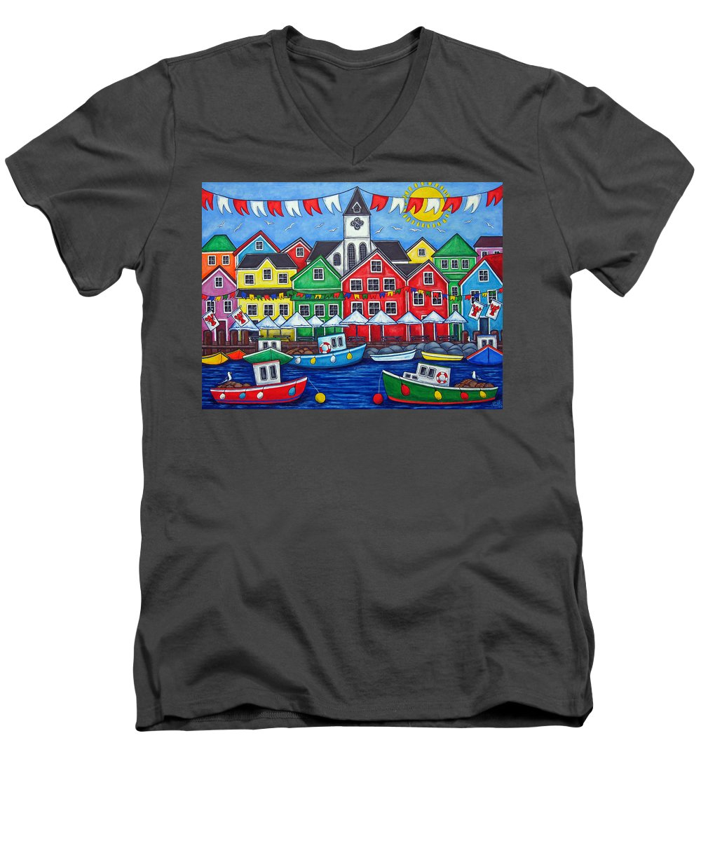 Boats Canada Colorful Docks Festival Fishing Flags Green Harbor Harbour Men's V-Neck T-Shirt featuring the painting Hometown Festival by Lisa Lorenz