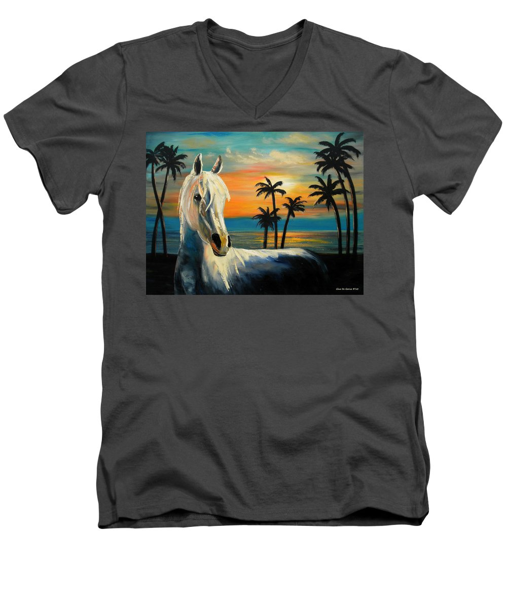Horse Men's V-Neck T-Shirt featuring the painting Horses In Paradise Tell Me Your Dream by Gina De Gorna