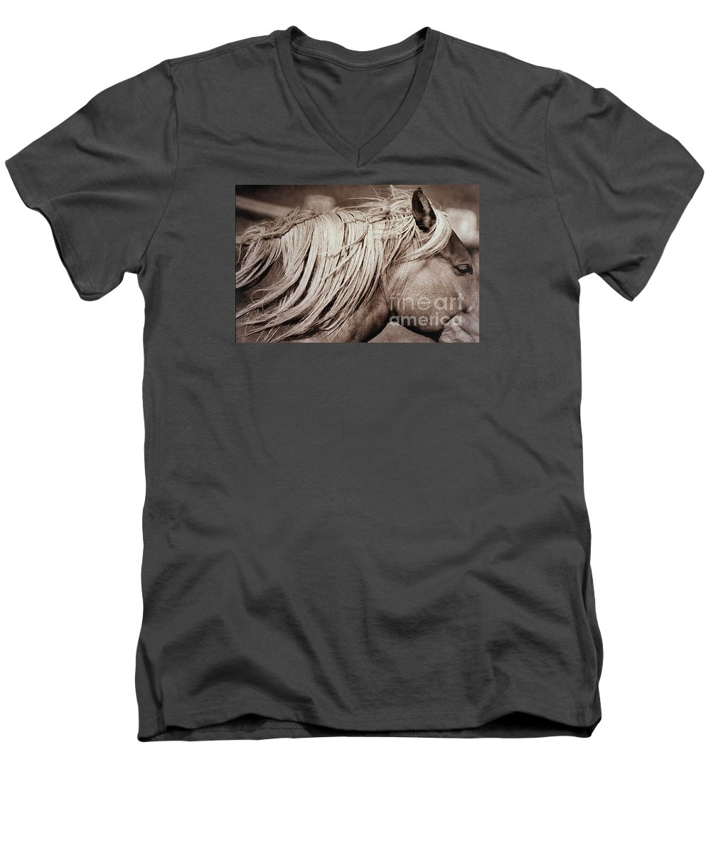 Horse Men's V-Neck T-Shirt featuring the photograph Horse's Mane by Michael Ziegler