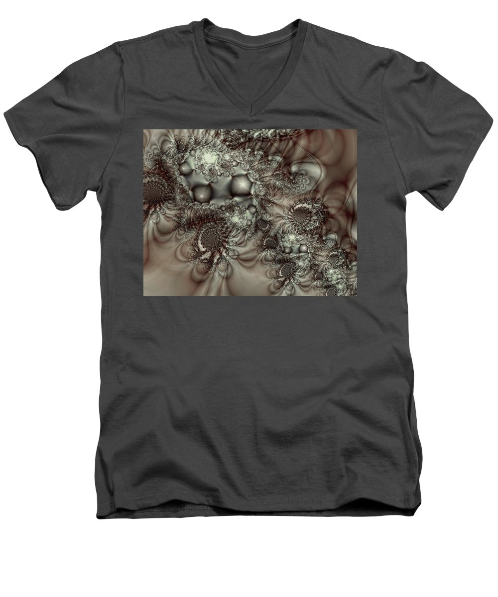Green Men's V-Neck T-Shirt featuring the digital art Hot Chocolate Possibilities by Casey Kotas