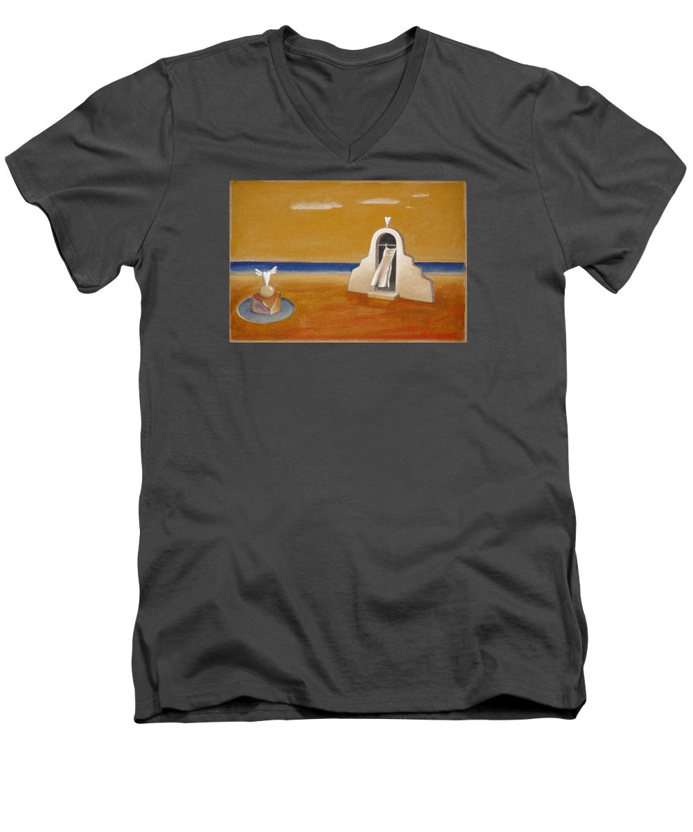 Chirico Men's V-Neck T-Shirt featuring the painting House Of Eros by Dimitris Milionis