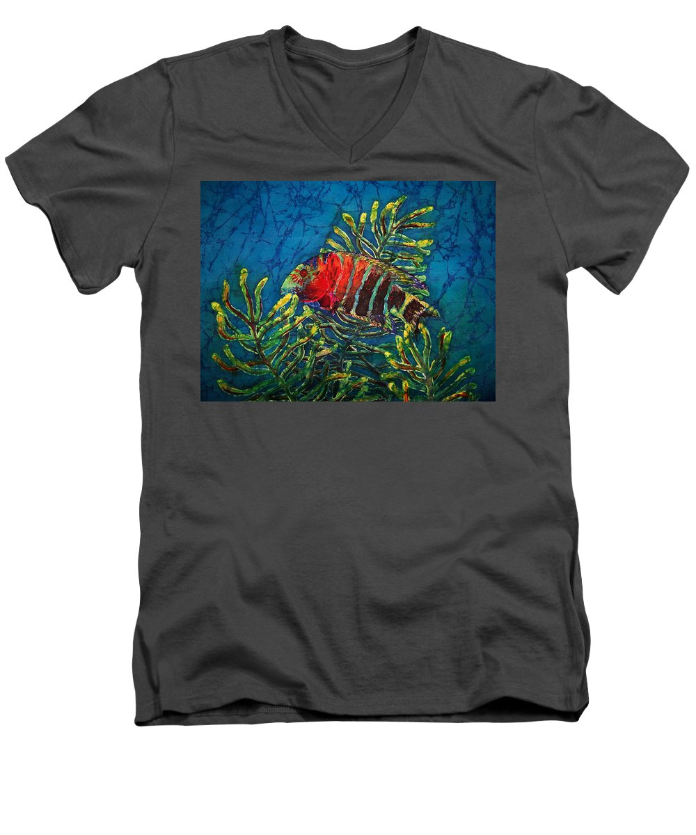Fish Men's V-Neck T-Shirt featuring the painting Hovering - Red Banded Wrasse by Sue Duda