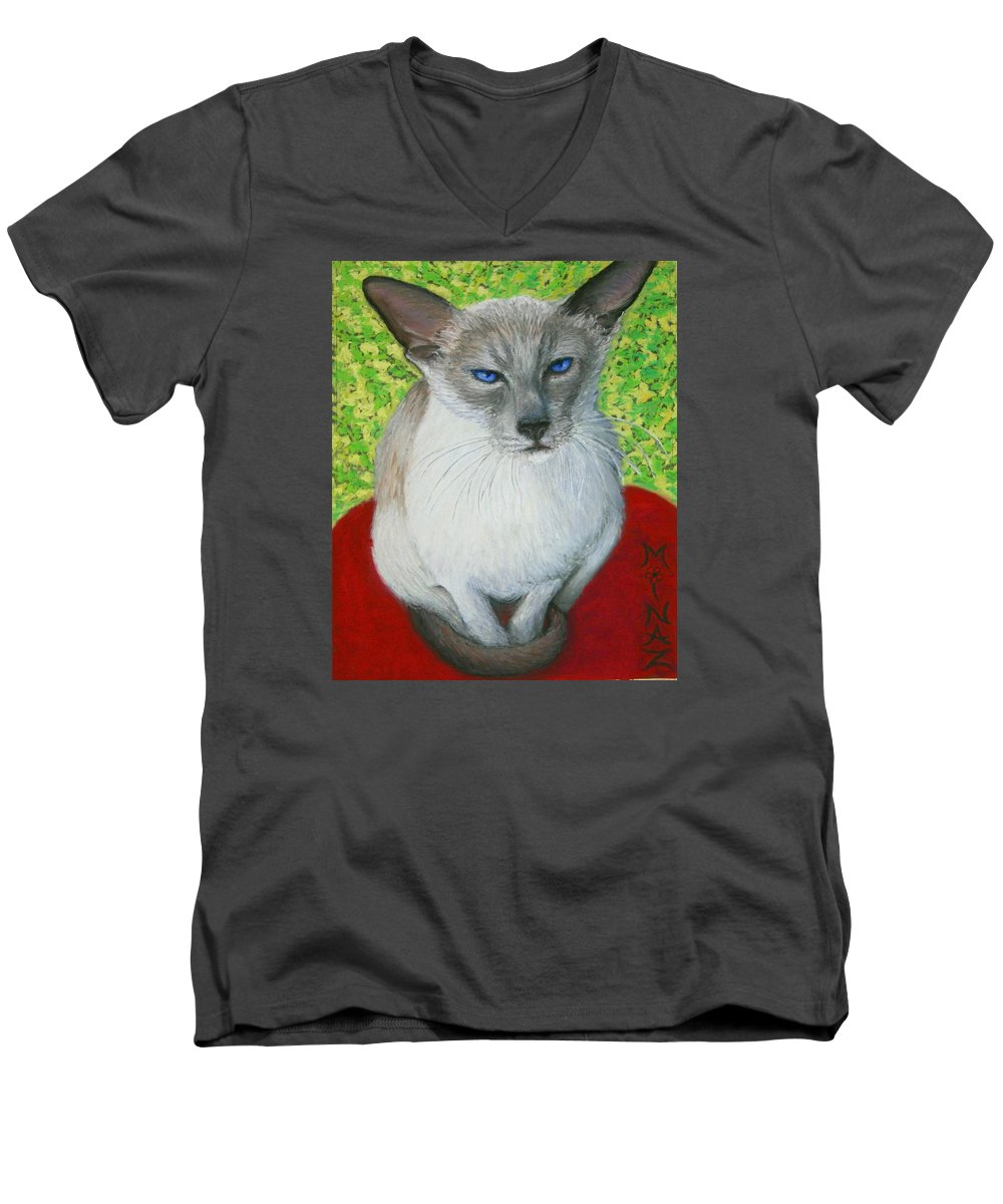 Siamese Men's V-Neck T-Shirt featuring the painting I Am Siamese If You Please by Minaz Jantz
