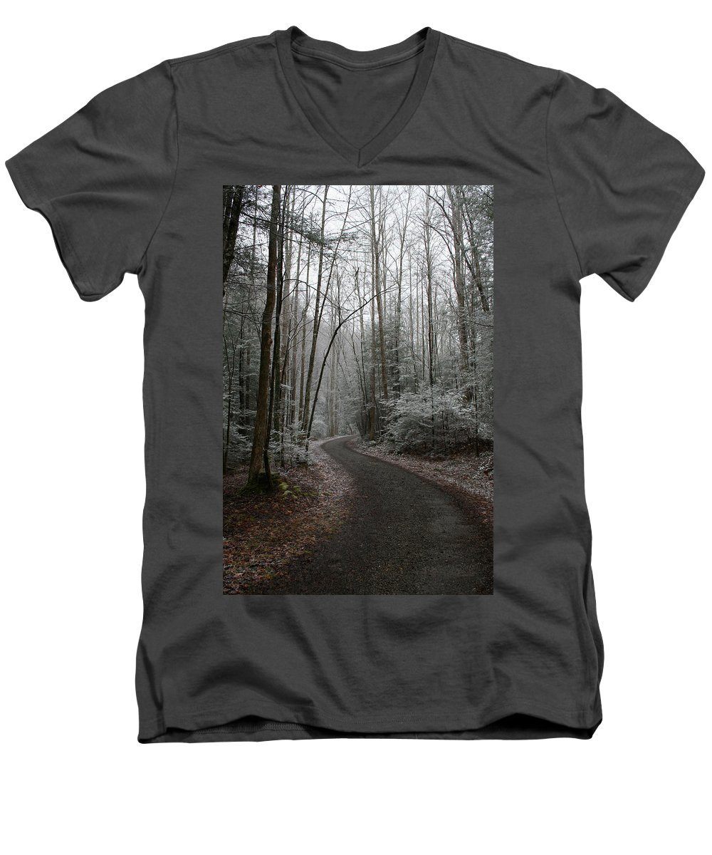 Nature Road Country Woods Forest Tree Trees Snow Winter Peaceful Quite Path White Forest Drive Men's V-Neck T-Shirt featuring the photograph I Am The Way by Andrei Shliakhau