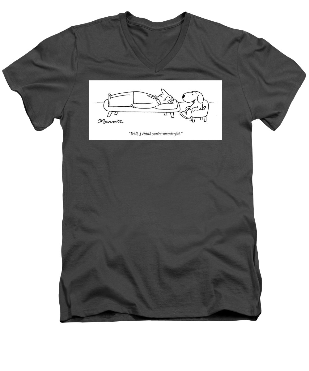 """well Men's V-Neck T-Shirt featuring the drawing I think you are wonderful by Charles Barsotti"