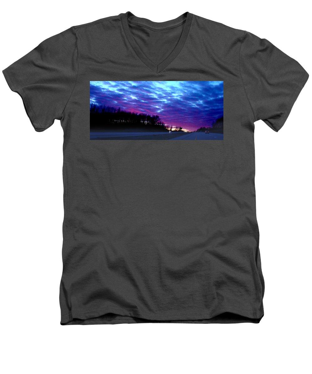 Landscape Men's V-Neck T-Shirt featuring the photograph I70 West Ohio by Steve Karol