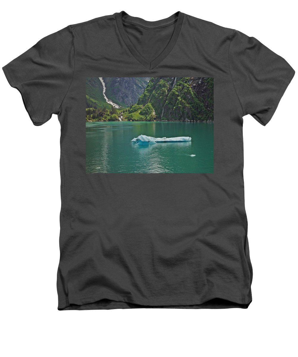 Iceburg Men's V-Neck T-Shirt featuring the photograph Ice Tracy Arm Alaska by Heather Coen