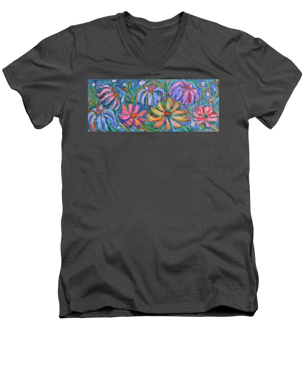 Flowers Men's V-Neck T-Shirt featuring the painting Imaginary Flowers by Kendall Kessler