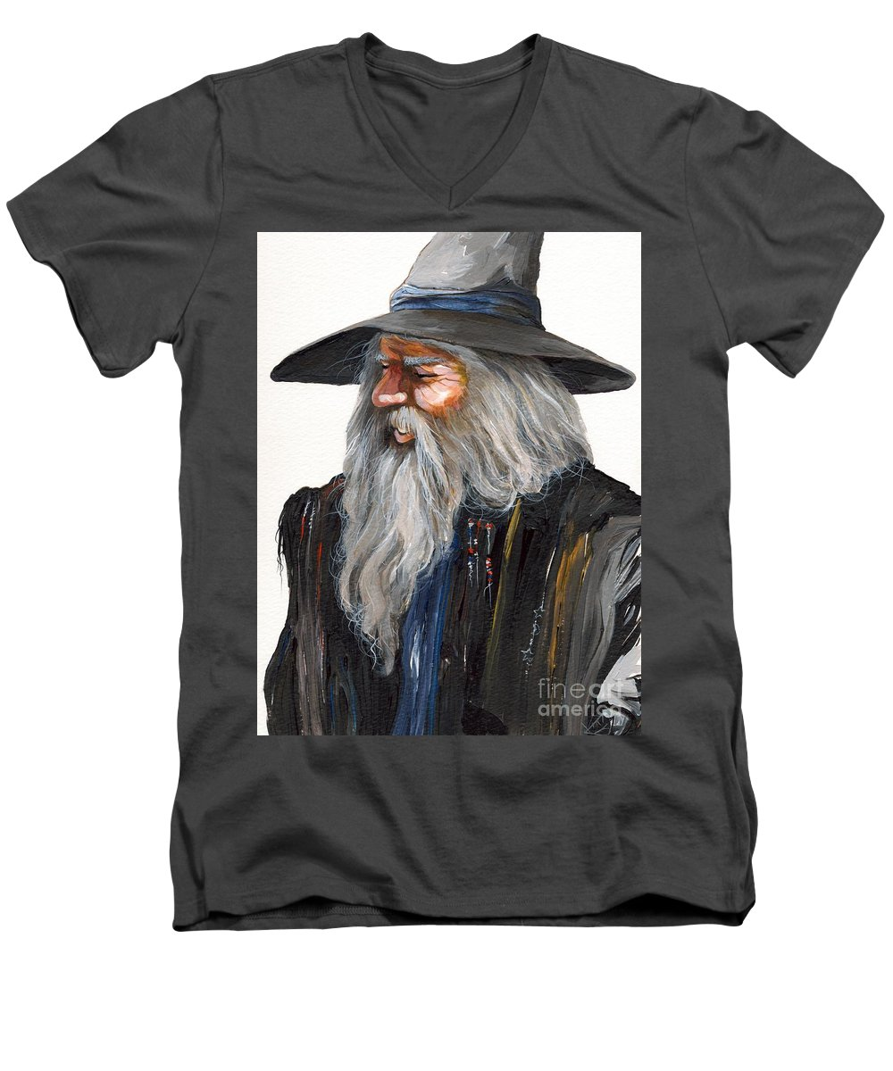 Fantasy Art Men's V-Neck T-Shirt featuring the painting Impressionist Wizard by J W Baker