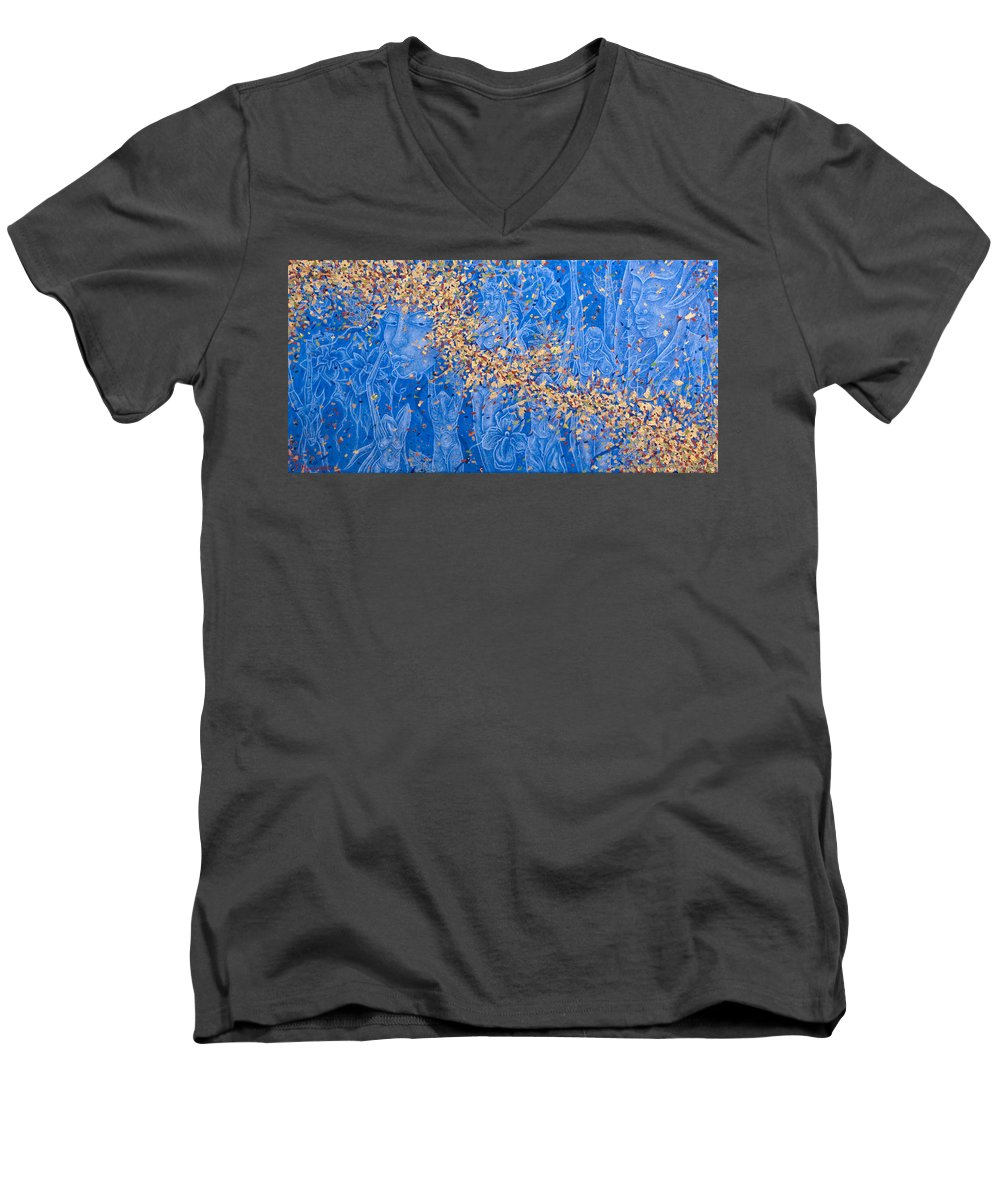 Waterfall Men's V-Neck T-Shirt featuring the painting In The Falls by Judy Henninger