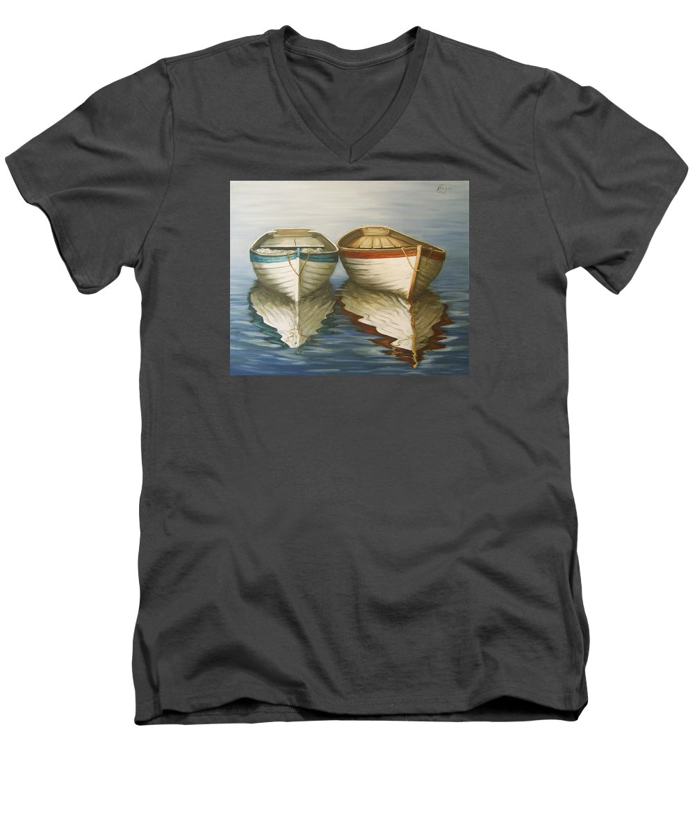 Seascape Ocean Reflection Water Boats Sea Men's V-Neck T-Shirt featuring the painting In Touch by Natalia Tejera