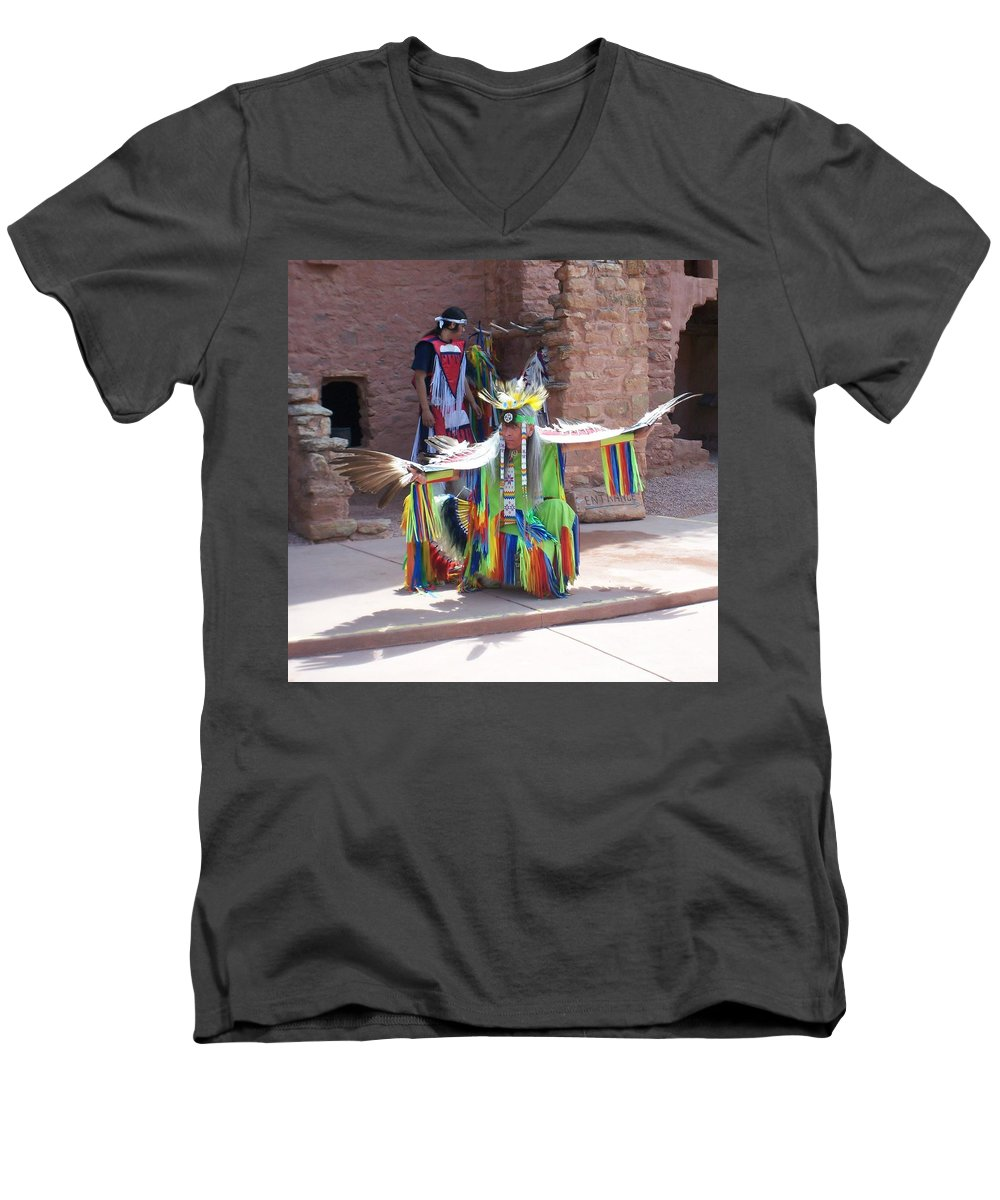 Indian Dancer Men's V-Neck T-Shirt featuring the photograph Indian Dancer by Anita Burgermeister