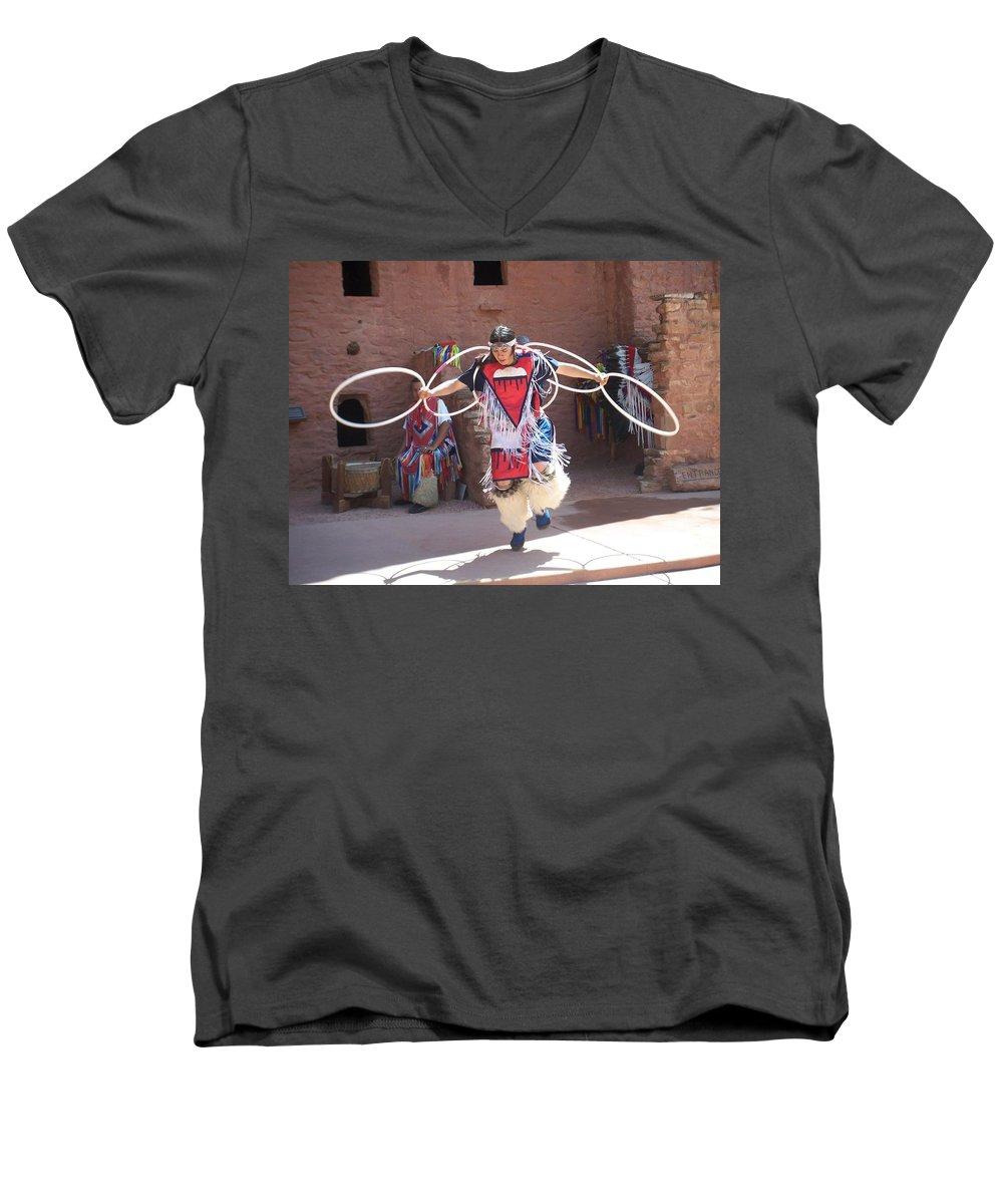 Indian Dancer Men's V-Neck T-Shirt featuring the photograph Indian Hoop Dancer by Anita Burgermeister