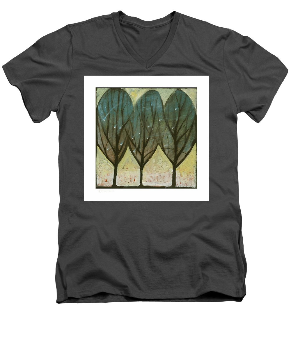 Trees Men's V-Neck T-Shirt featuring the painting Indian Summer Snow by Tim Nyberg
