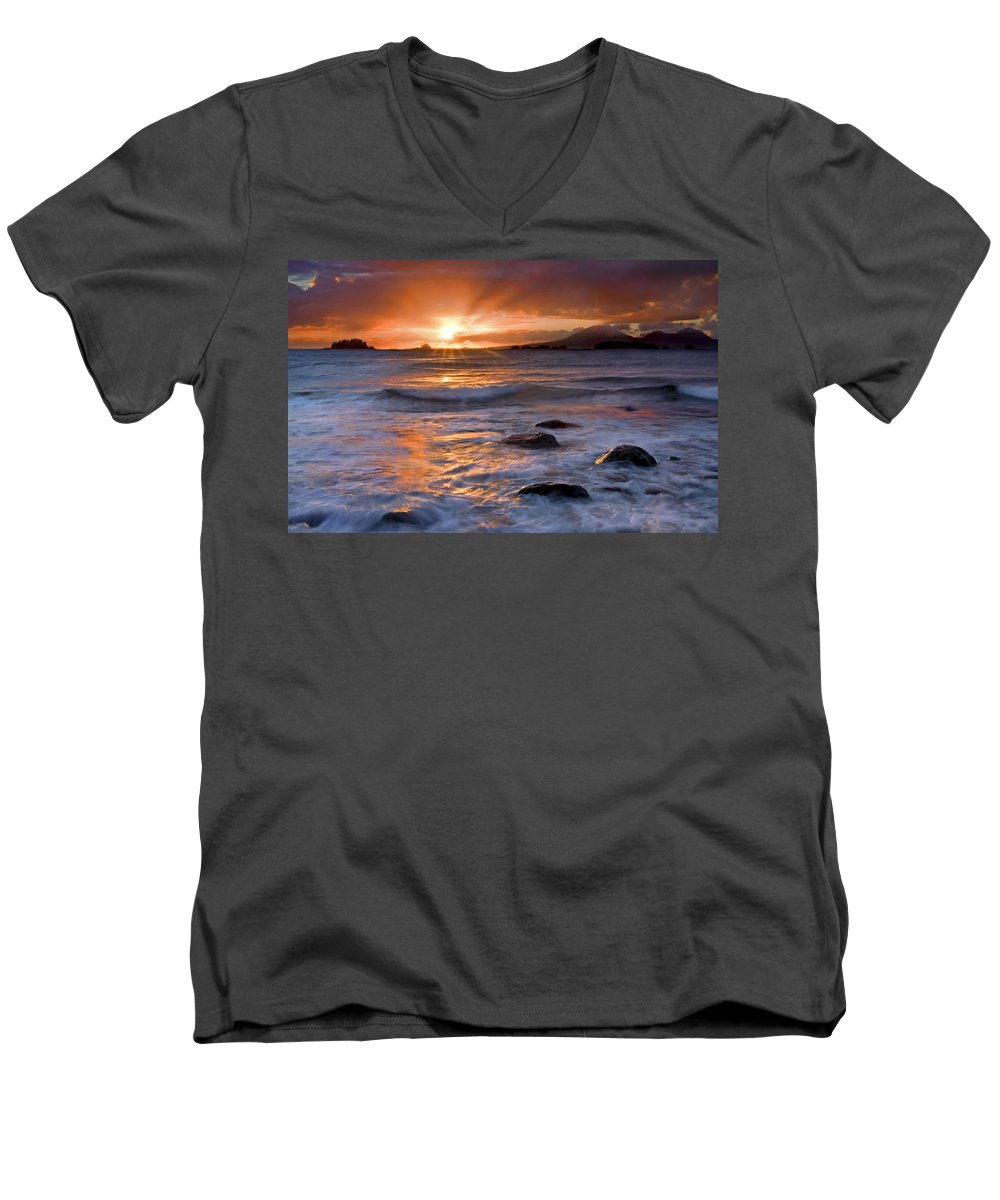 Alaska Men's V-Neck T-Shirt featuring the photograph Inspired Light by Mike Dawson