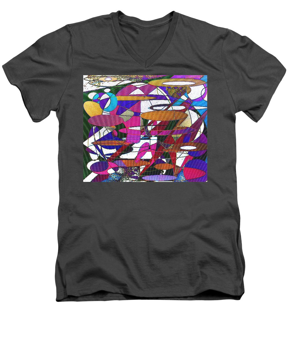 Abstract Men's V-Neck T-Shirt featuring the digital art Intergalatic by Ian MacDonald
