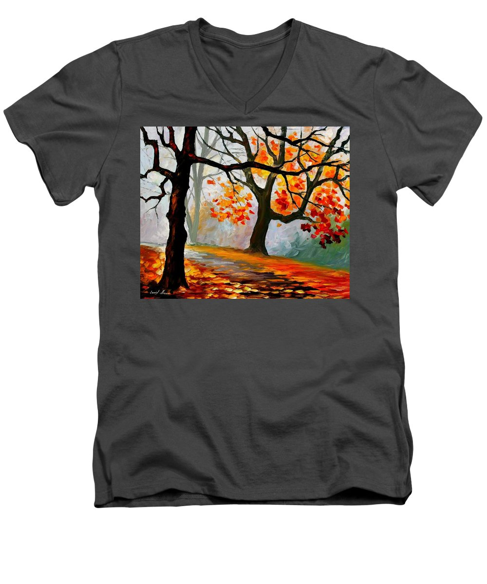 Landscape Men's V-Neck T-Shirt featuring the painting Interplacement by Leonid Afremov