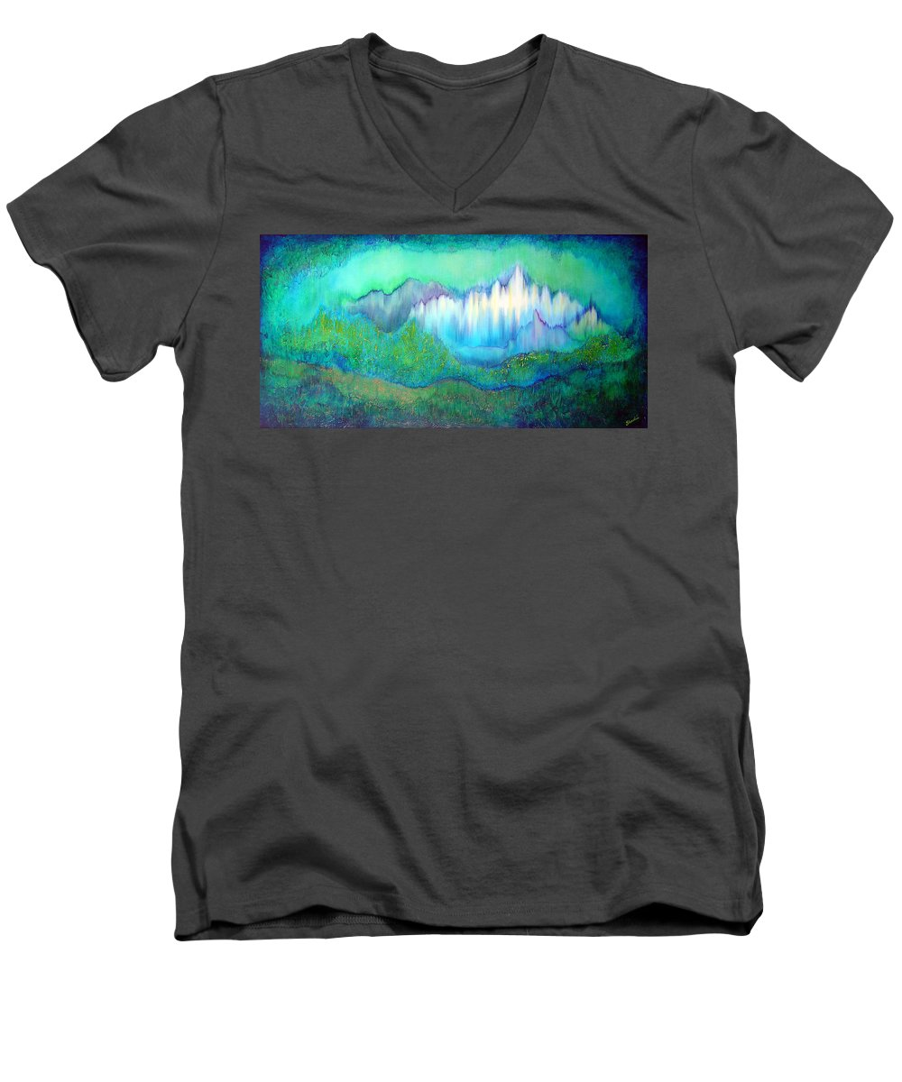 Blue Men's V-Neck T-Shirt featuring the painting Into The Ocean by Shadia Derbyshire