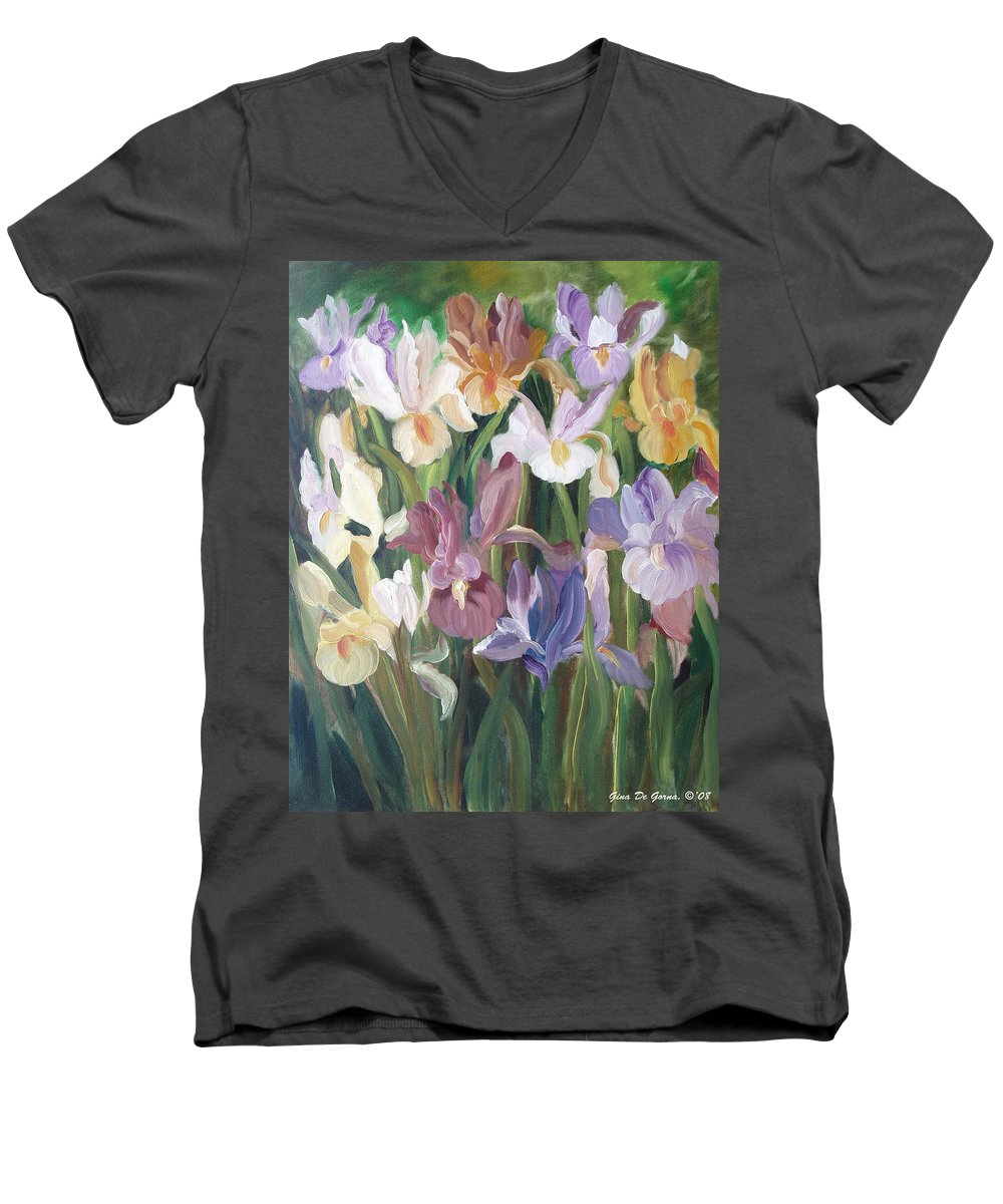 Irises Men's V-Neck T-Shirt featuring the painting Irises by Gina De Gorna