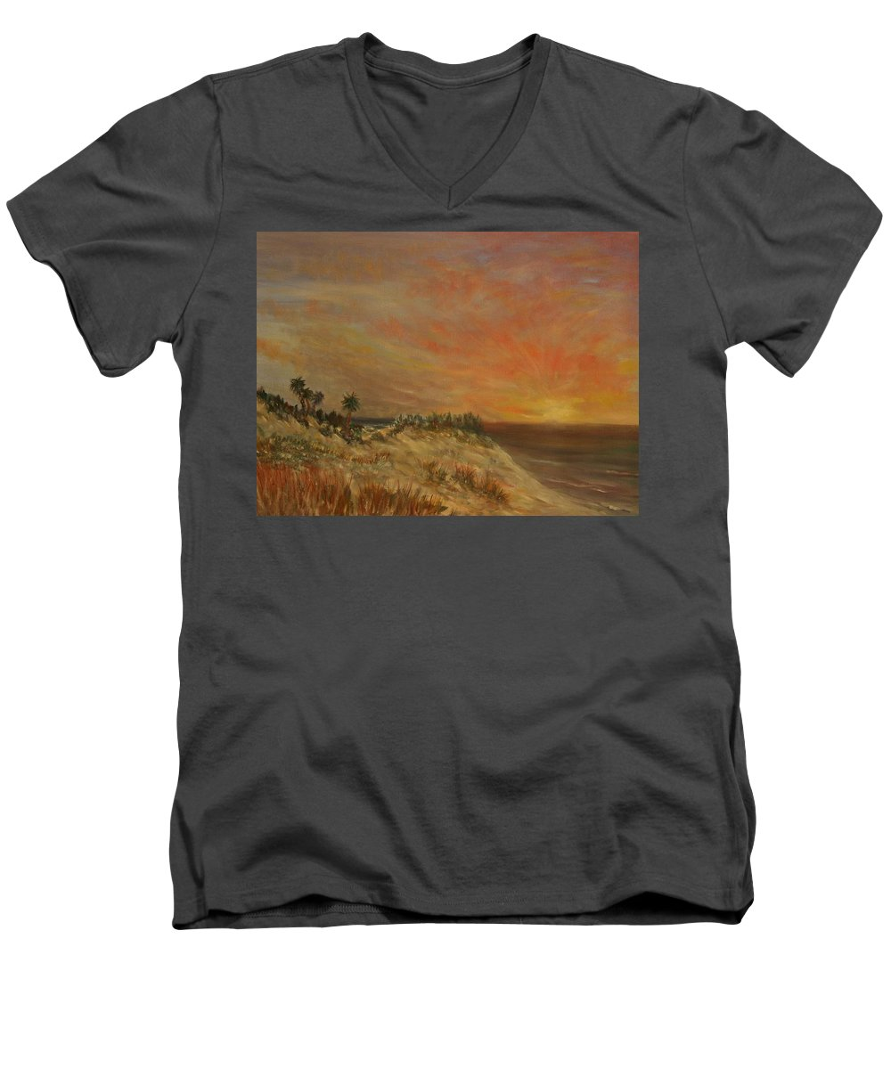 Sunset;beach;ocean;palm Trees Men's V-Neck T-Shirt featuring the painting Island Sunset by Ben Kiger