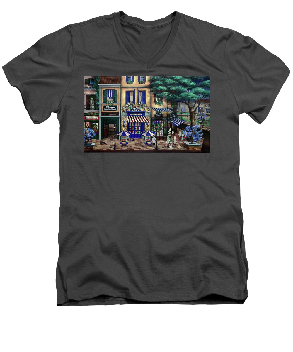 Italian Men's V-Neck T-Shirt featuring the mixed media Italian Cafe by Curtiss Shaffer