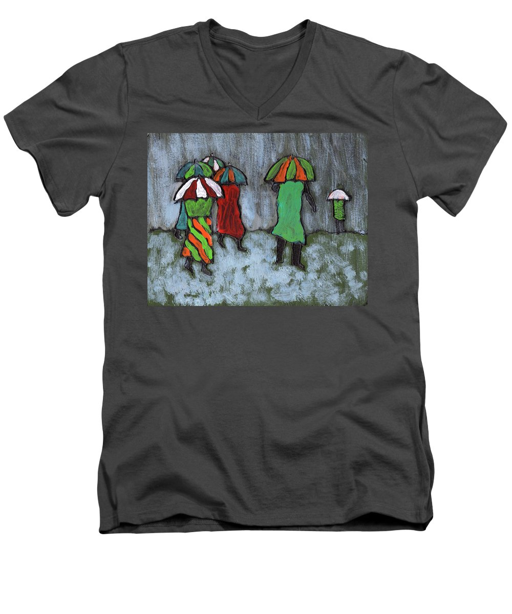Etnic Men's V-Neck T-Shirt featuring the painting It's Raining It's Pouring by Wayne Potrafka