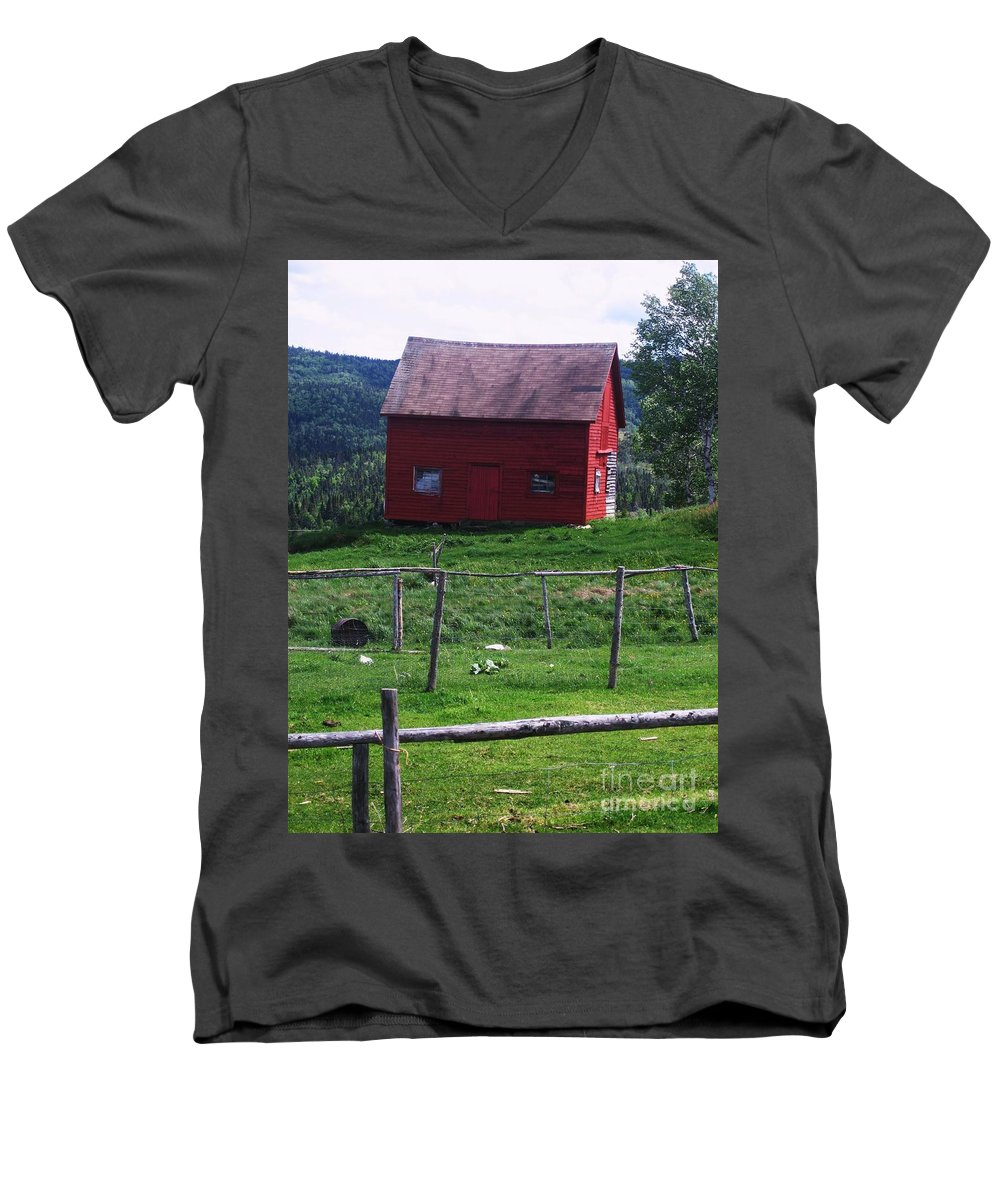 Photograph Newfoundland Jackson Cove Boat Grass Men's V-Neck T-Shirt featuring the photograph Jackson's Cove by Seon-Jeong Kim