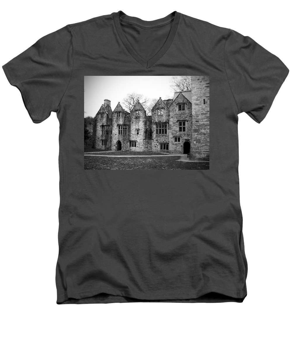 Irish Men's V-Neck T-Shirt featuring the photograph Jacobean Wing At Donegal Castle Ireland by Teresa Mucha