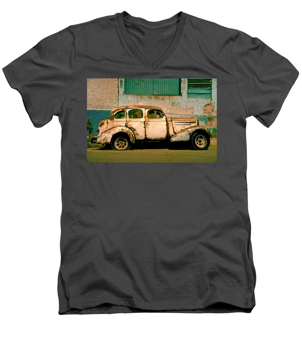 Skip Men's V-Neck T-Shirt featuring the photograph Jalopy by Skip Hunt