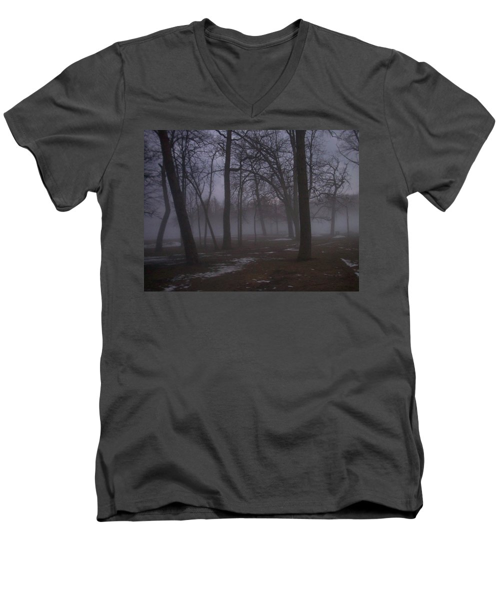 January Men's V-Neck T-Shirt featuring the photograph January Fog 2 by Anita Burgermeister