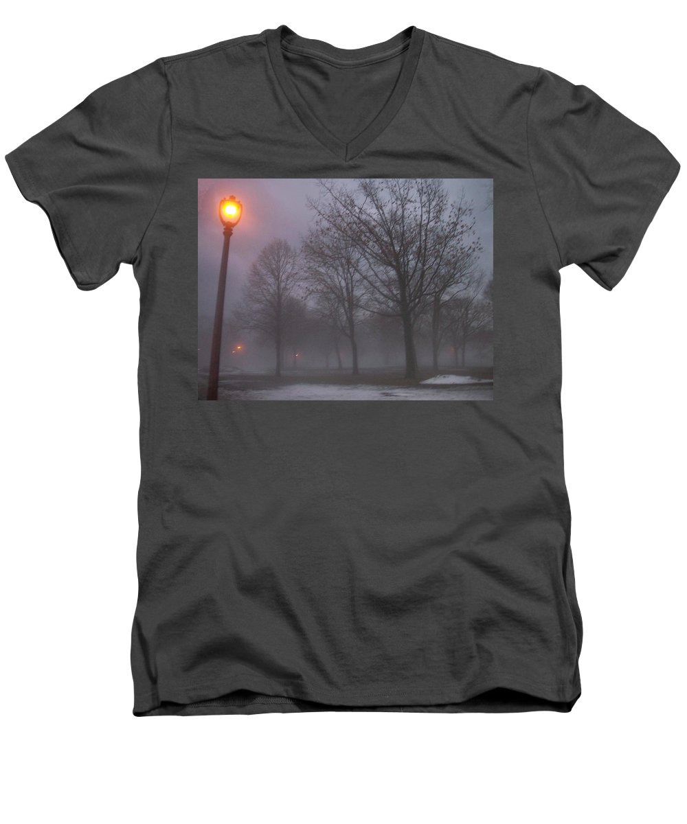 January Men's V-Neck T-Shirt featuring the photograph January Fog 3 by Anita Burgermeister